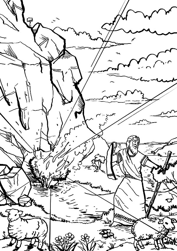 Moses Saw Burning Bush on Mount Hareb Coloring Pages