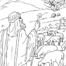 Moses Sees the Burning Bush from Distance Coloring Pages