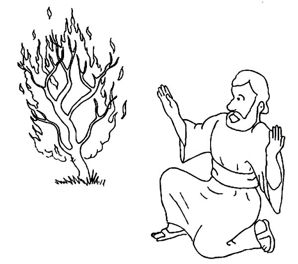 Moses Surprised Saw Burning Bush Coloring Pages