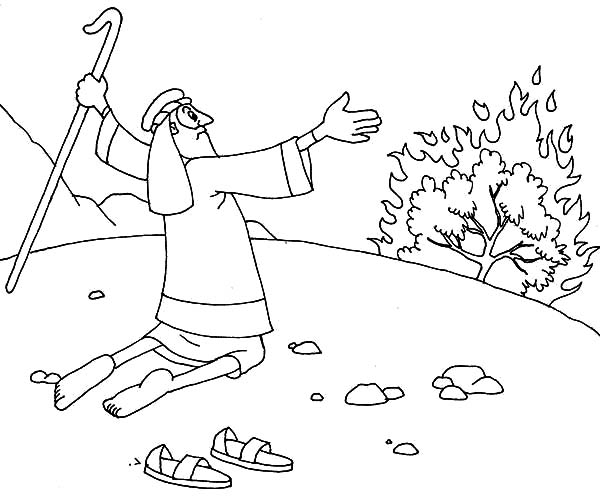 Moses Take His Sandal Off When He Saw Burning Bush Coloring Pages