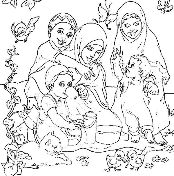 Moslem Family Picnic Coloring Pages