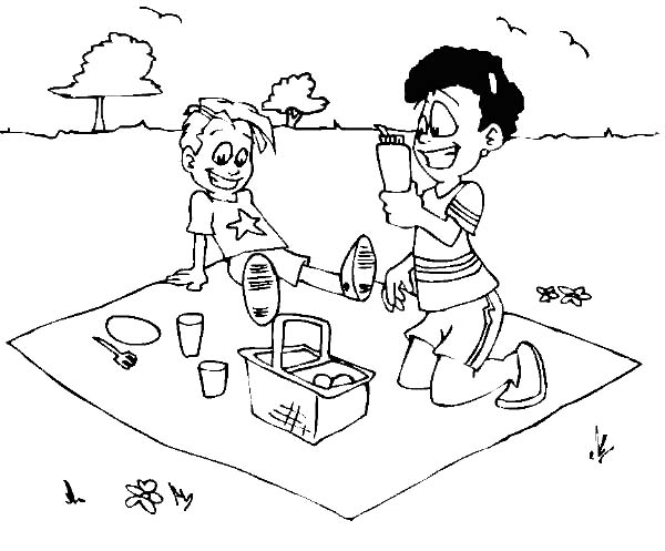 My Stomach is Full at Family Picnic Coloring Pages