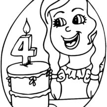 Number Four Birthday Candle Coloring Pages
