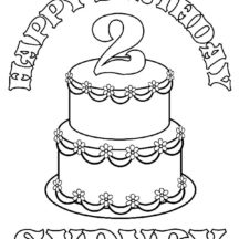 Number Two Birthday Candle Coloring Pages