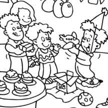 Opening Present at Birthday Party Coloring Pages