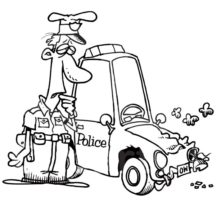 Patrol Officer Staring at His Crashed Cars Coloring Pages