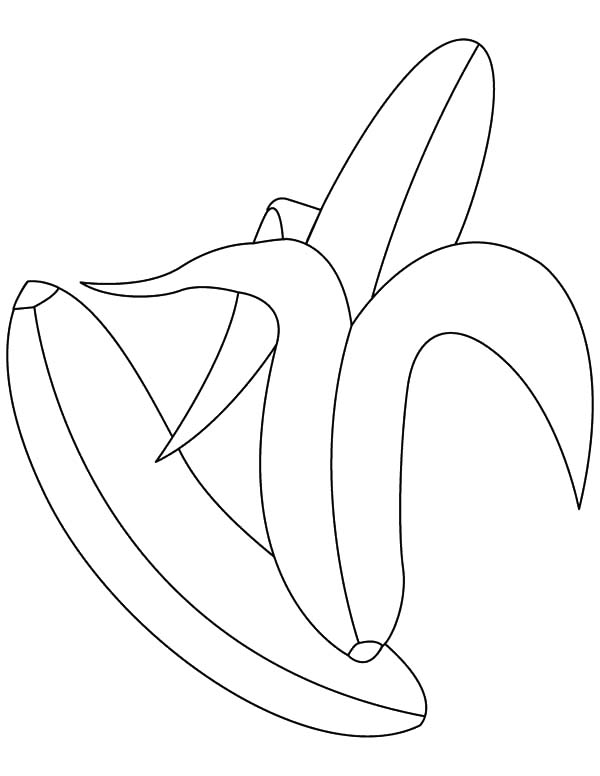 Peeling Banana Bunch Coloring Pages