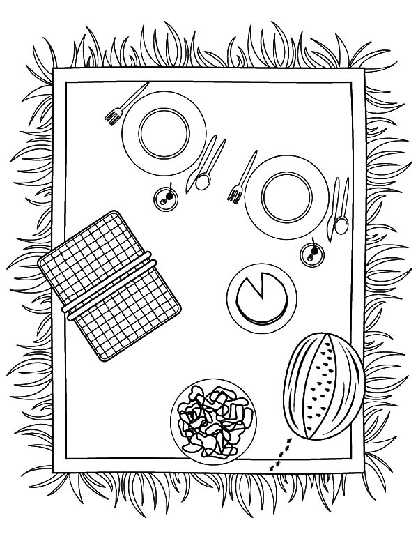 Preparing Lunch at Family Picnic Coloring Pages