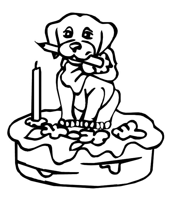 Puppy Figure on Birthday Cake Coloring Pages