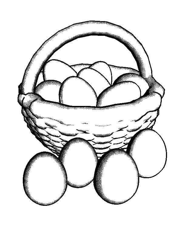 Put All Chicken Egg in Basket Coloring Pages