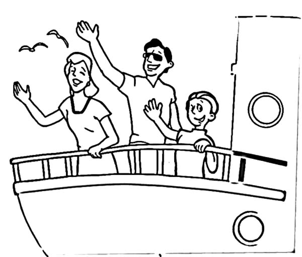 Saying Goodbye and Waving Hand on Cruise Ship Coloring Pages