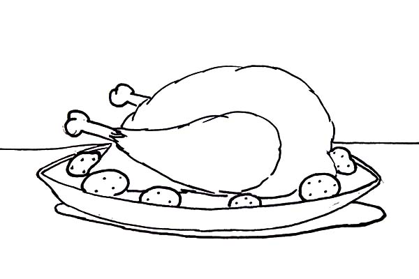 Serving Chicken with Drumstick Coloring Pages
