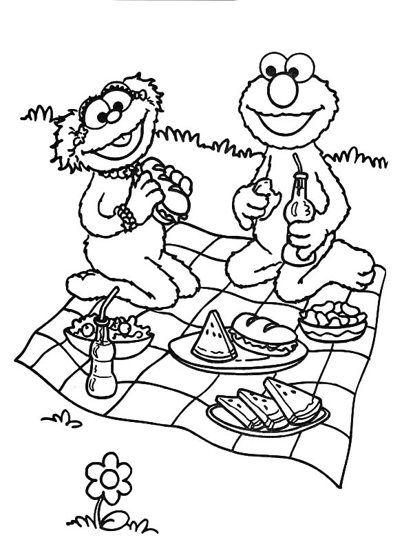 Sesame Street Family Picnic Coloring Pages