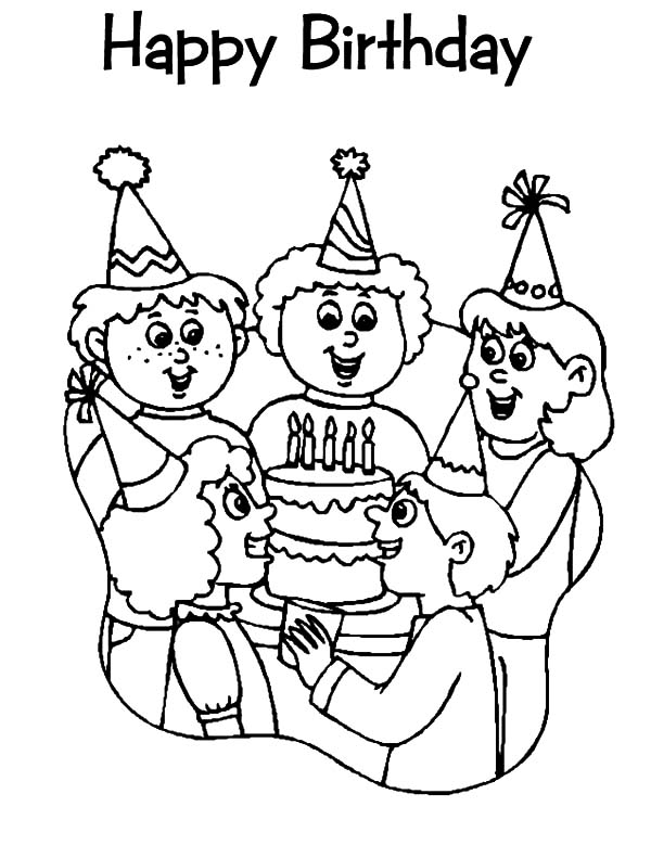 Singing Before Birthday Cake at Birthday Party Coloring Pages