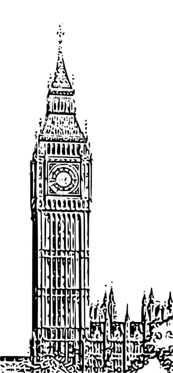 Sketch of Big Ben Clock Tower Coloring Pages