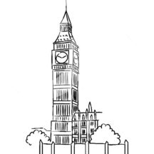 Sketched Big Ben Clock Tower Coloring Pages
