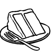 Slice of Chocolate Cake on Plate with Fork Coloring Pages