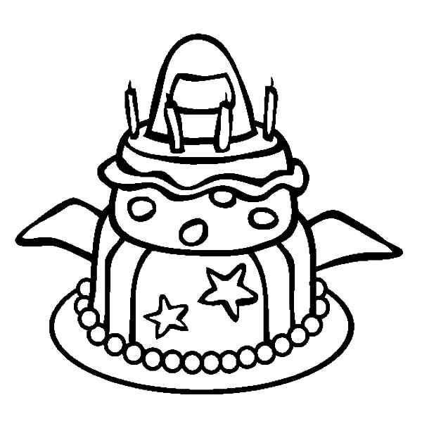 Spacecraft Theme Birthday Cake Coloring Pages