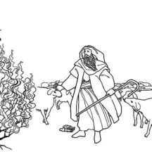 Story of Moses with Burning Bush Coloring Pages