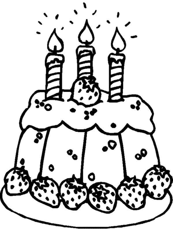 Strawberry Cake with Birthday Candle Coloring Pages