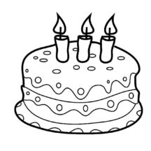 Strawberry Flavoured Birthday Cake Coloring Pages