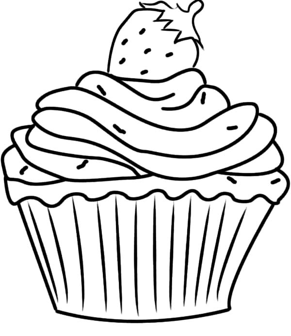 Strawberry on Top Cupcakes Coloring Pages