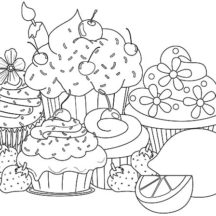 Sweet Cupcakes with Lemon Coloring Pages