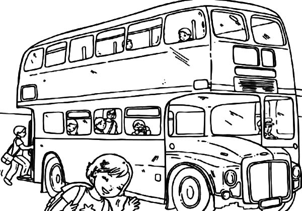 Take Picture with City Bus Coloring Pages