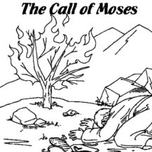 The Call of Moses Burning Bush Moses Coloring Pages
