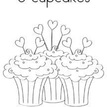 Three Love Cupcakes Coloring Pages