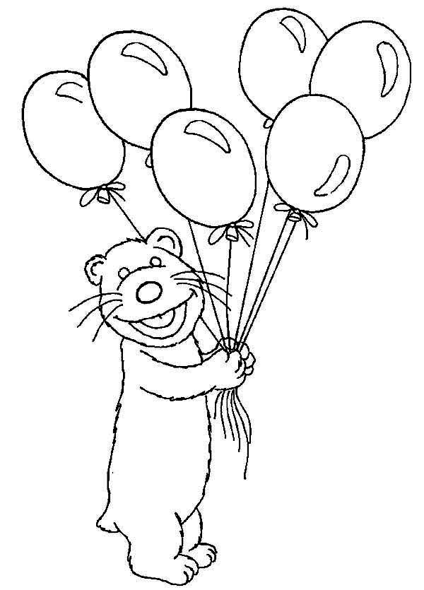 Tutter Bring Bear inthe Big Blue House a Lot of Balloons Coloring Pages