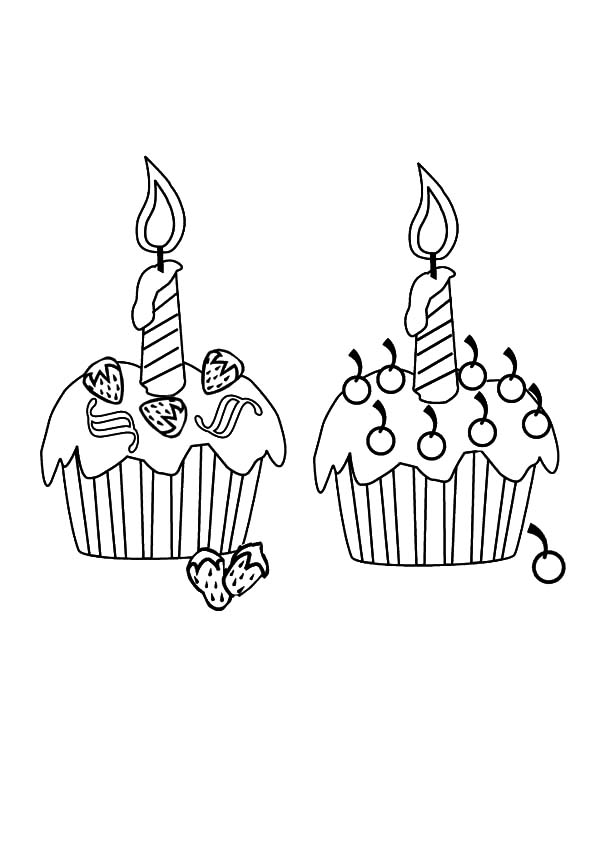 Twin Cupcakes Coloring Pages