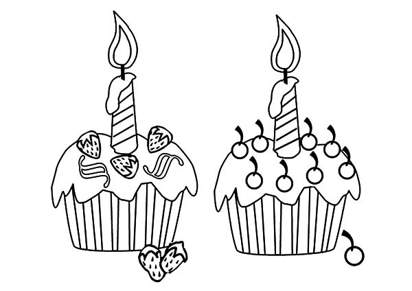 Two Delicious Cupcakes Coloring Pages