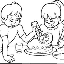 Two Kids Decorating Chocolate Cake Coloring Pages