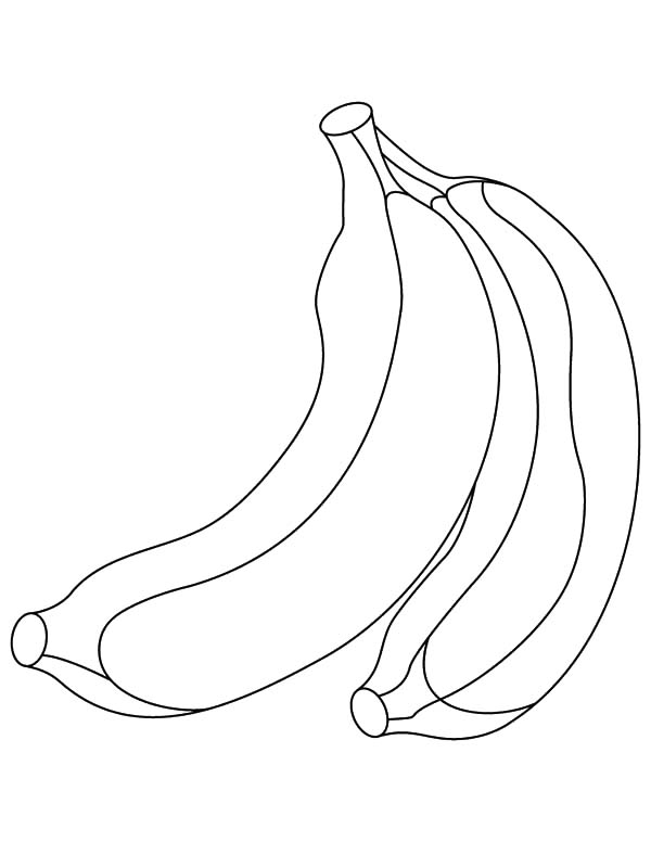 Two Pieces of Banana Bunch Coloring Pages