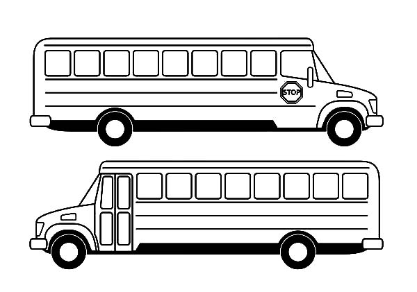 Two Side View City Bus Coloring Pages