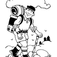 Walking Camping with Backpack Coloring Pages