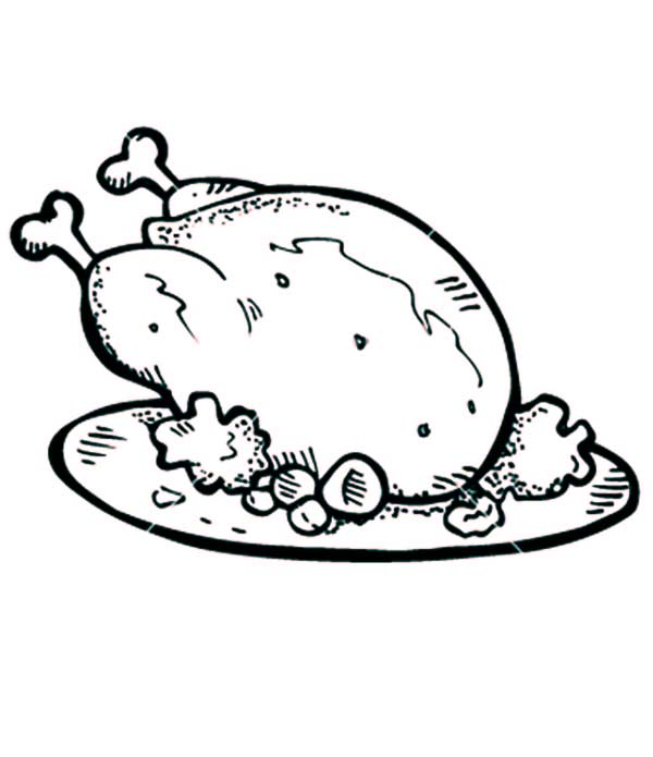 Well Cooked Roasted Chicken with Drumstick Coloring Pages