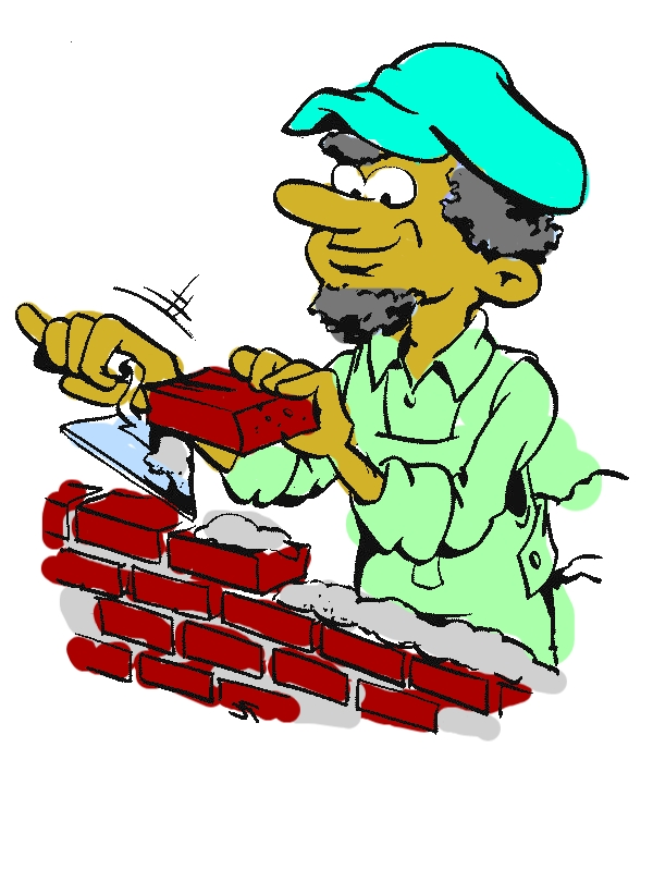 A Bricklayer Working in Community Helpers Coloring Page by years old Lucille D  Stamm