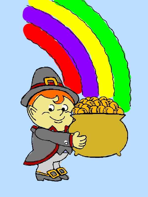 A Cute Kid Holding a Pot of Gold on St Patricks Day Coloring Page by years old Noel M  Slater