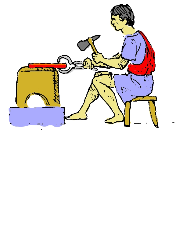 An Ancient Rome Craftman Making a Weapon Coloring Page by years old Monica P  Shane