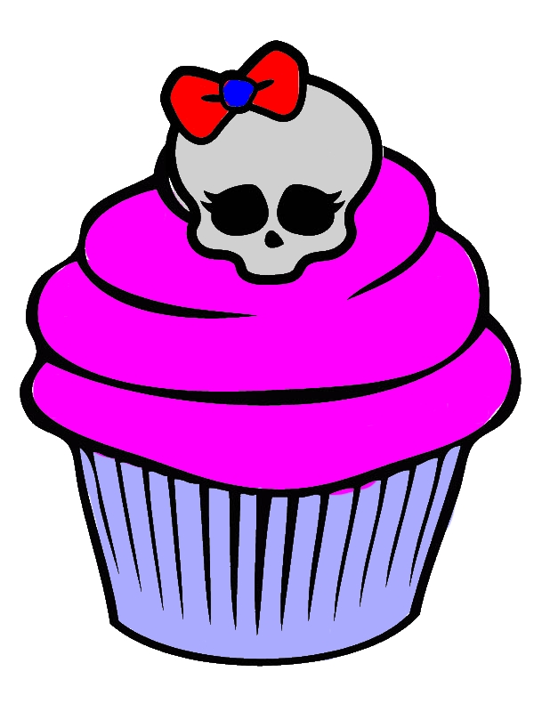Awesome Skull Cupcake Coloring Page by years old Hortensia W  Byers