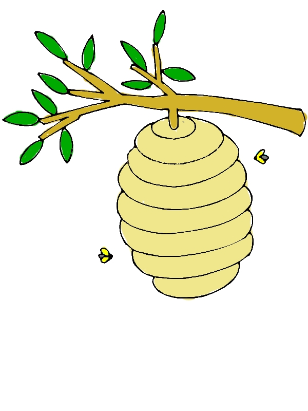 Beehive Up at Tree Branch Coloring Page by years old Keith L  Bachmann