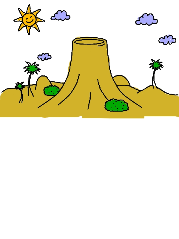 Calm Volcano Coloring Page by years old James V  Drennan