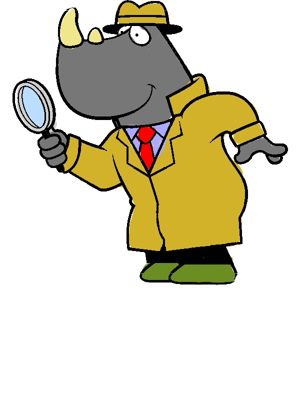 Cartoon of a Rhino Detective Using a Magnifying Glass Coloring Page by years old Thanh L  Han