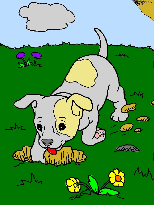 Chihuahua Dog Digging a Hole Coloring Pages by years old Irma H  Ramsey