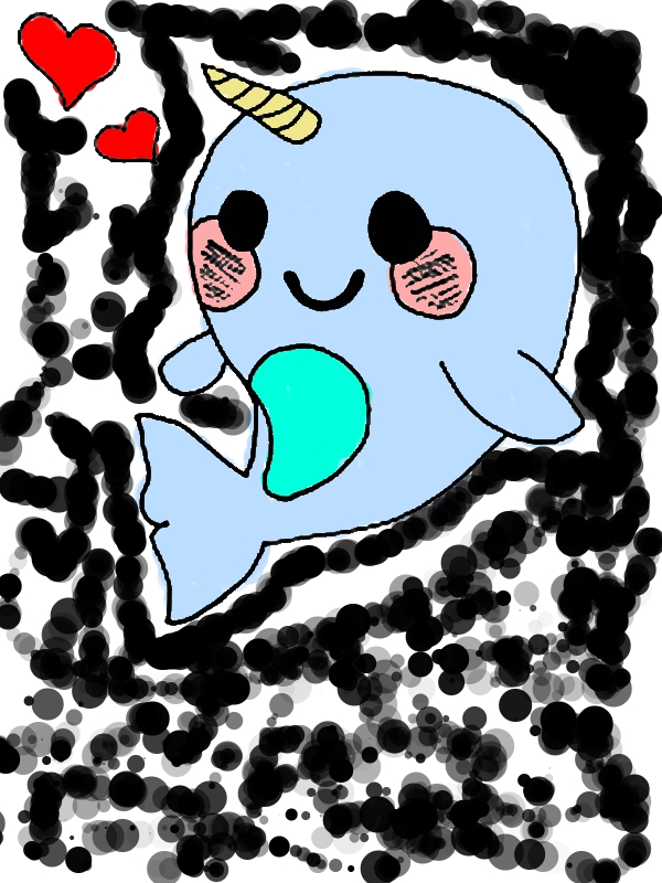 Cute Baby Narwhal Coloring Page by 12 years old bri