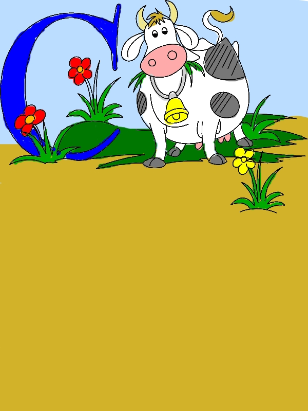 Dairy Cow and Letter C Coloring Pages by years old Vivian R  French