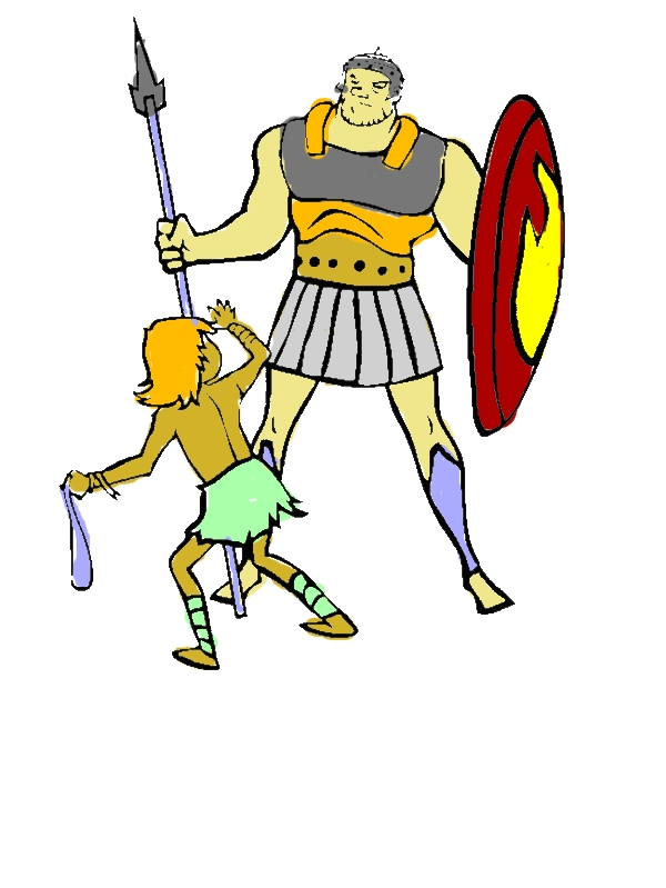 Depiction of David versus Goliath in the Bible Heroes Coloring Page by years old Curtis R  Grosvenor