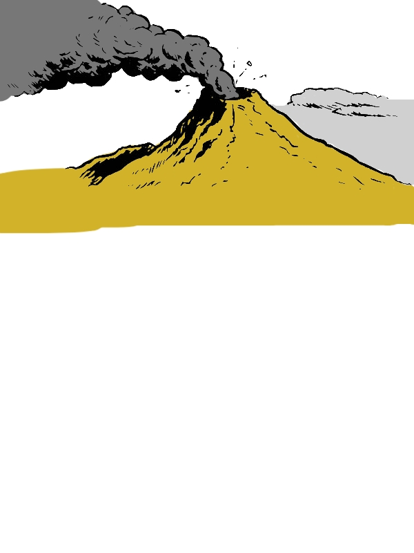 Fantastic Picture of Erupting Volcano Coloring Page by years old Franklin T  Jones